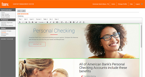Content Managemet System Screenshot - American Bank, Waco Texas